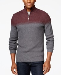 Tasso Elba Big And Tall Ombre Striped Quarter Zip Sweater Only At Macy's Port Ombre