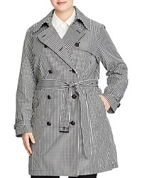 Ralph Lauren Plus Gingham Double Breasted Trench Coat Black White