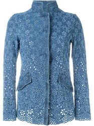 Ermanno Scervino Floral Embroidery Denim Jacket Blue