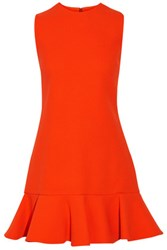 Victoria Beckham Fluted Wool Mini Dress Bright Orange