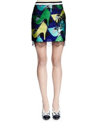 Lanvin Sequined Shoe Print Mini Skirt Ink Size 48