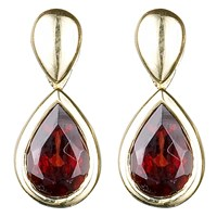 Ewa 9Ct Yellow Gold Garnet Pear Drop Earrings Gold Red