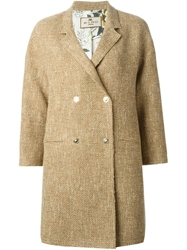 Etro Three Quarter Sleeve Double Breasted Coat Nude And Neutrals