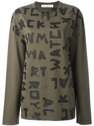 Golden Goose Deluxe Brand Painted Letters T Shirt Green