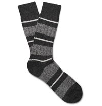 Pantherella Apsley Striped Cashere Blend Socks Charcoal