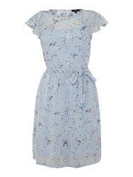 Therapy Floral Bird Print Tie Waist Dress Blue