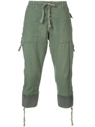 Greg Lauren Drop Crotch Cropped Trousers Green