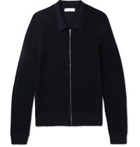 Sandro Wool Blend Zip Up Cardigan Navy