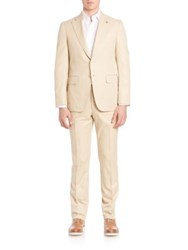 Isaia Solid Cotton Suit Medium Beige