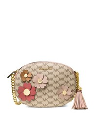 Michael Kors Floral Faux Leather Monogram Crossbody Natural Fawn