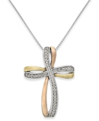 Macy's Diamond Tri Tone Cross Pendant Necklace In 14K Gold And Sterling Silver 1 10 Ct. T.W.