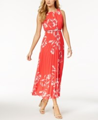 Jessica Howard Petite Belted Printed Maxi Dress Coral