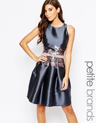 Little Mistress Petite Prom Dress With Printed Waist Detail Grey