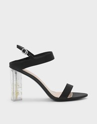 Charles And Keith Floral Lucite Heel Sandals Black