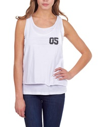 William Rast Double Layer Varsity Tank White