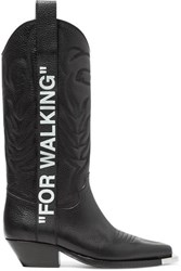 Off White For Walking Embroidered Printed Textured Leather Knee Boots Black