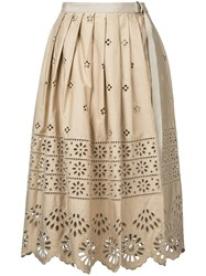 Sea Embroidered Pleated Skirt Women Cotton 8 Nude Neutrals