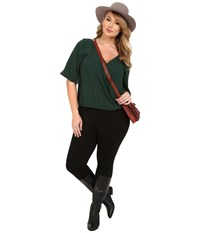 Bb Dakota Plus Size Merlyn Cdc Flowy Tee Hunter Women's Blouse Green