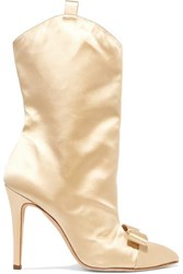 Alessandra Rich Bow Embellished Satin Ankle Boots Beige