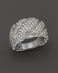 John Hardy Classic Chain Silver And Diamond Pave Large Twisted Ring .55 Ct. T.W.