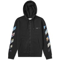 Off White Colour Painting Diagonals Zip Hoody Black