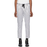 Dolce And Gabbana White Black Striped Trousers