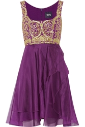 Notte By Marchesa Embellished Tulle And Silk Chiffon Dress Purple