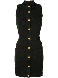 Balmain Sleeveless Denim Dress Women Cotton Spandex Elastane 38 Black