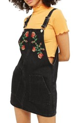 Topshop Women's Embroidered Denim Pinafore Washed Black