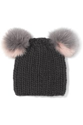Eugenia Kim Mimi Faux Fur Trimmed Wool Beanie Gray