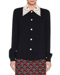 Miu Miu Cross Stitch Collar Sable Blouse Blue