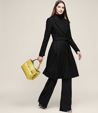Reiss Halle Wool Blend Double Breasted Coat In Black