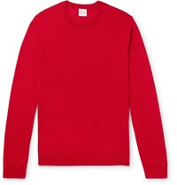 Paul Smith Embroidered Merino Wool And Silk Blend Sweater Red
