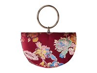 Jessica Mcclintock Lara Paisley Half Moon Ring Handle Wine Handbags Burgundy