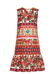 Dolce And Gabbana Carretto Print Mini Dress Pink Multi