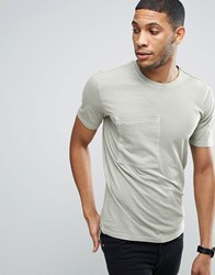 Only And Sons Longline T Shirt With Step Back Hem Pockets In Organic Cotton Sea Grass Green