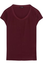 Splendid Luxe Stretch Modal Trimmed Washed Silk Top Merlot