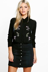 Boohoo Embroidered Woven Cropped Shirt Black