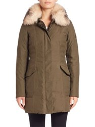 Peuterey Solasca Fox Fur Collar Down Coat Olive