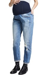 Ingrid And Isabel Mia Boyfriend Jeans Distressed Medium Wash