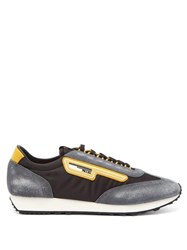 Prada Milano Low Top Nylon And Suede Trainers Black