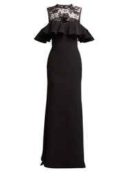 Alexander Mcqueen Floral Lace And Crepe Gown Black