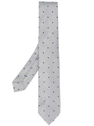 Barba Embroidered Tie Grey