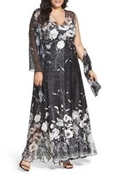Komarov Plus Size Women's Lace Up Back Floral Gown And Shawl