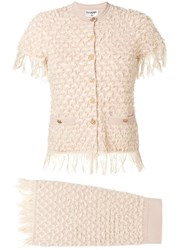 Chanel Vintage Frayed Two Piece Knit Suit Neutrals