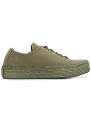 Visvim Prima Lace Up Folk Sneakers Green