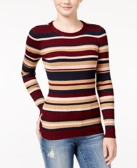 It's Our Time Juniors' Striped Fine Gauge Zip Back Sweater Vino Mood Indigo Winter Camel Bellini Combo