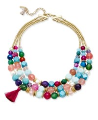 Lonna And Lilly Gold Tone Colored Bead Multi Layer Tassel Necklace