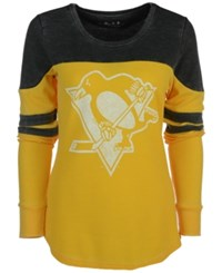 G3 Sports Women's Pittsburgh Penguins Hat Trick Thermal Long Sleeve T Shirt Black Gold