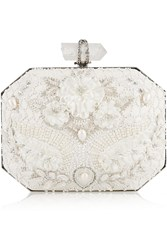 Marchesa Iris Embellished Leather Box Clutch White